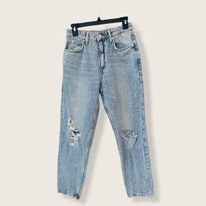 Zara Acid Wash Destroyed Boyfriend Blue Denim Jeans 26 Women's High Waisted Rise